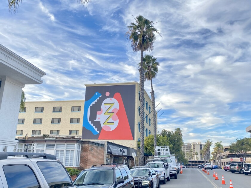"The mural ""Newz!"" was installed Jan. 28 on Fay Avenue in La Jolla."