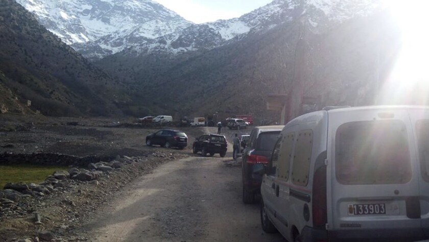 This Dec. 18 photo shows security personnel at the scene where the bodies of two Scandinavian women tourists were found dead, near Imlil in the High Atlas mountains, Morocco. Authorities say the bodies of two Scandinavian women have been found in the Atlas Mountains, a popular hiking destination.