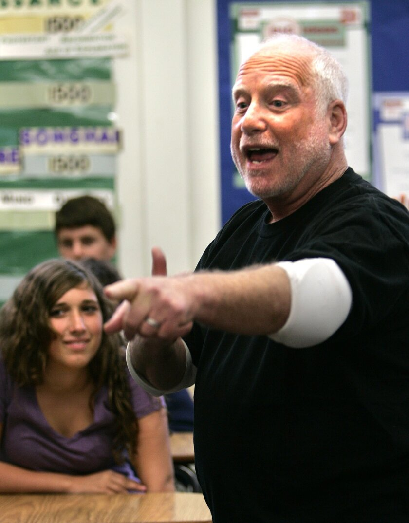 Actor Richard Dreyfuss extols the virtues of the Constitution to eighth-graders at a Solana Beach middle school.