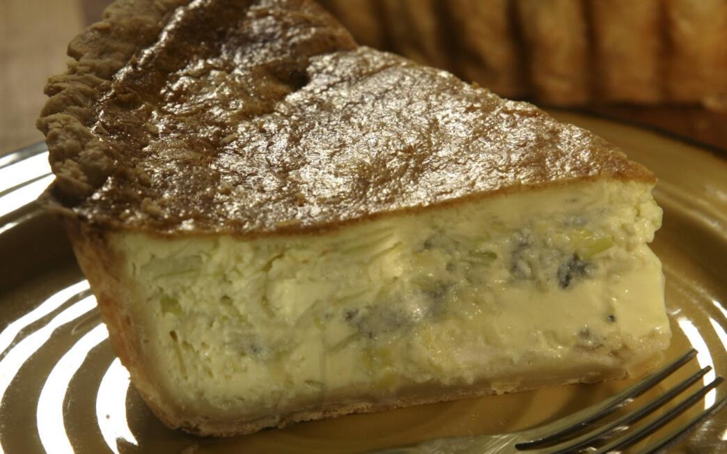 Roquefort and leek quiche