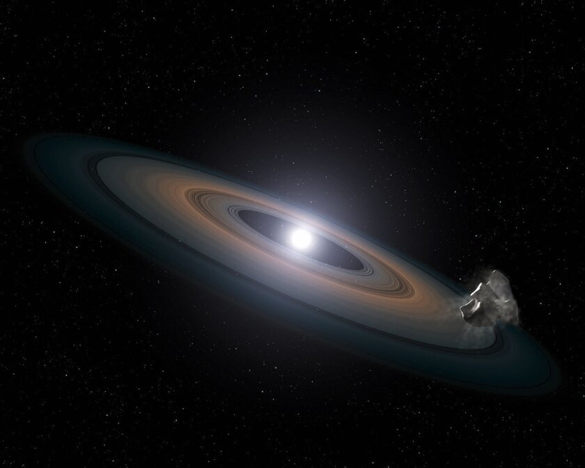 An artist's impression of the thin, rocky debris disc discovered around the two Hyades white dwarfs.