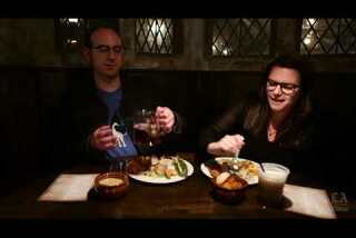 Sampling the grub at Three Broomsticks at the Wizarding World of Harry Potter