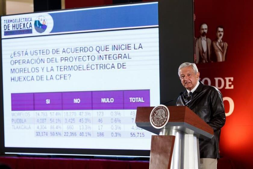 President Andres Manuel Lopez Obrador takes questions during a press conference on Feb. 25, 2019, in Mexico City, Mexico, on the results of a referendum in which voters approved a controversial power project opposed by grassroots groups and many residents. EPA-EFE/Jose Mendez