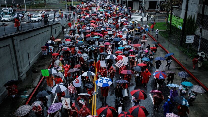 LOS ANGELES, CALIF. -- MONDAY, JANUARY 14, 2019: Educators, supporters and community members march t