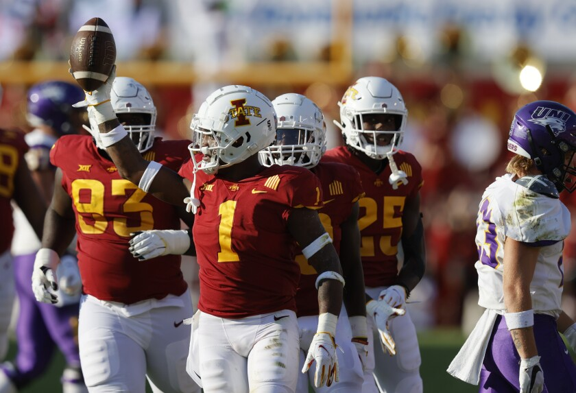 Iowa State defensive back Isheem Young (1) celebrates an interception during the second half of an NCAA college football game against Northern Iowa, Saturday, Sept. 4, 2021, in Ames, Iowa. Iowa State won 16-10. (AP Photo/Matthew Putney)