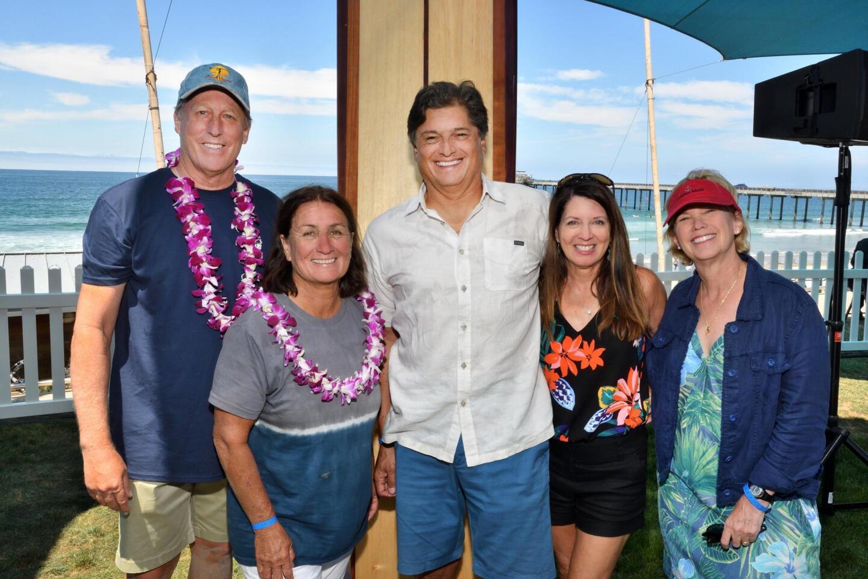 Stephen Keane (event co-chair), Debbie Beacham (surf legend), Chuck and Nancy Peinado, Audrey Keane