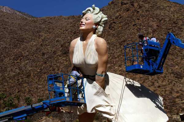 Statue of iconic blond Marilyn Monroe is installed at its new home in downtown Palm Springs.