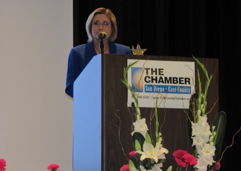Santee City Manager Marlene Best was one of seven winners at the 17th annual San Diego East County Chamber of Commerce Women In Leadership Luncheon held Friday at the Heritage Events Center at Sycuan Casino & Resort. Local author Amanda Matti, an El Cajon resident, was the keynote speaker at the event, which drew more than 400 attendees.