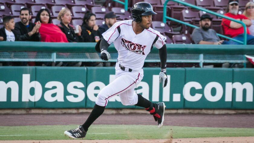 Storm center fielder Buddy Reed hits a three-run, inside-the-park home run on Tuesday, April 17, 2018.