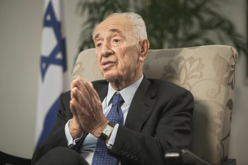 Former Israeli President Shimon Peres speaks during an interview with The Associated Press in Jerusalem, Monday, Nov. 2,  2015. In an unprecedented seven-decade political career, Shimon Peres has been there for all the highs and lows of Israel's tumultuous history. Now, amid another wave of violenc