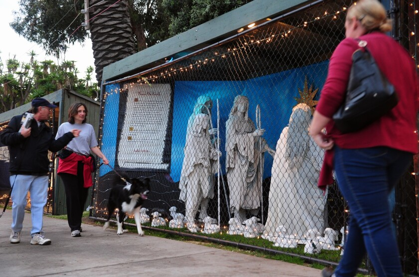 A Nativity display in Santa Monica's Palisades Park in December 2011. A federal appeals court Thursday upheld the city's ban on such displays.