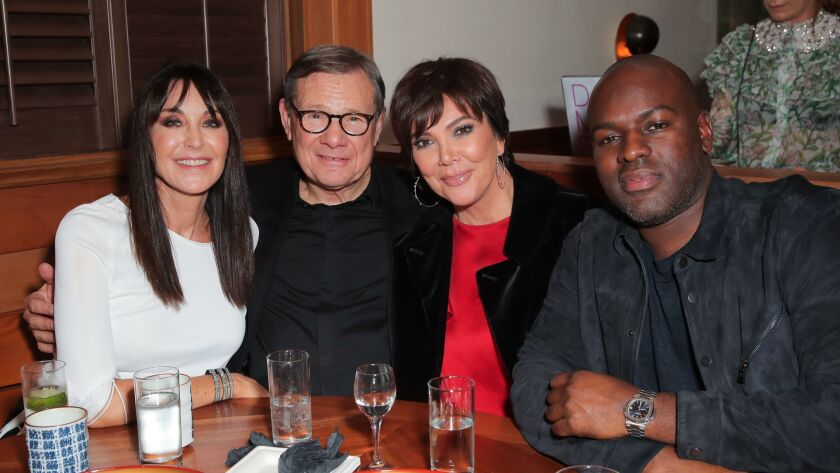 Tamara Mellon, from left, Michael Ovitz, Kris Jenner and Corey Gamble at the party for the opening of Mellon's Palisades Village store in the Pacific Palisades in December 2018.