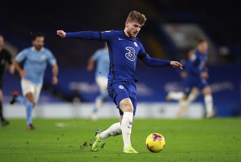 Chelsea's Timo Werner controls the ball during the English Premier League soccer match between Chelsea and Manchester City at Stamford Bridge, London, England, Sunday, Jan. 3, 2021. (AP Photo/Ian Walton/Pool)