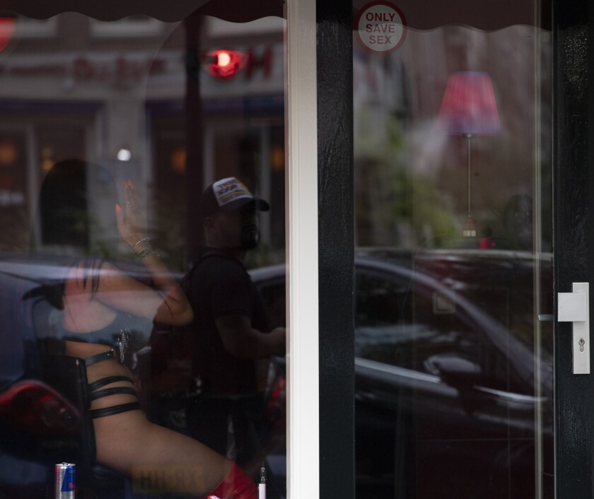 A sex worker in Amsterdam's red-light district