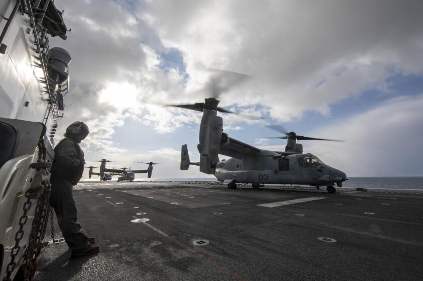 A U.S. Marine Corps MV-22 Osprey assigned to Marine Medium Tiltrotor Squadron 164, 15th Marine Expeditionary Unit