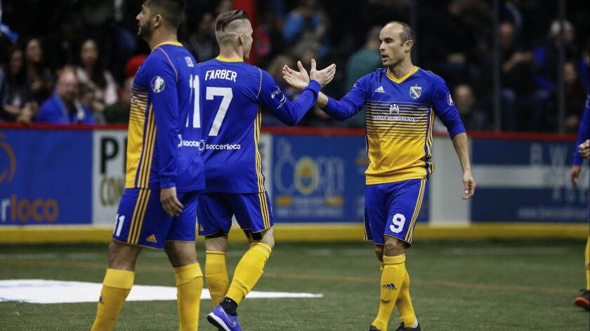 Shown in this photo from his Sockers debut on Feb. 15, forward Landon Donovan (9) scored his first career goal with San Diego 12 seconds into Friday night's game against Turlock.