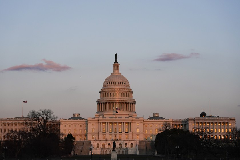 The exterior of the U.S. Capitol building.
