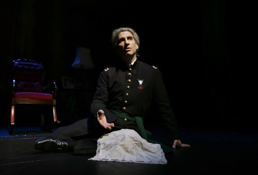 """Hershey Felder stars as Dr. Charles Augustus Leale, seen here remembering how he cradled the head of a dying President Abraham Lincoln, in his solo play with music """"An American Story for Actor and Orchestra"""" at the Birch North Park Theatre. CREDIT: Eighty Eight LLC"""