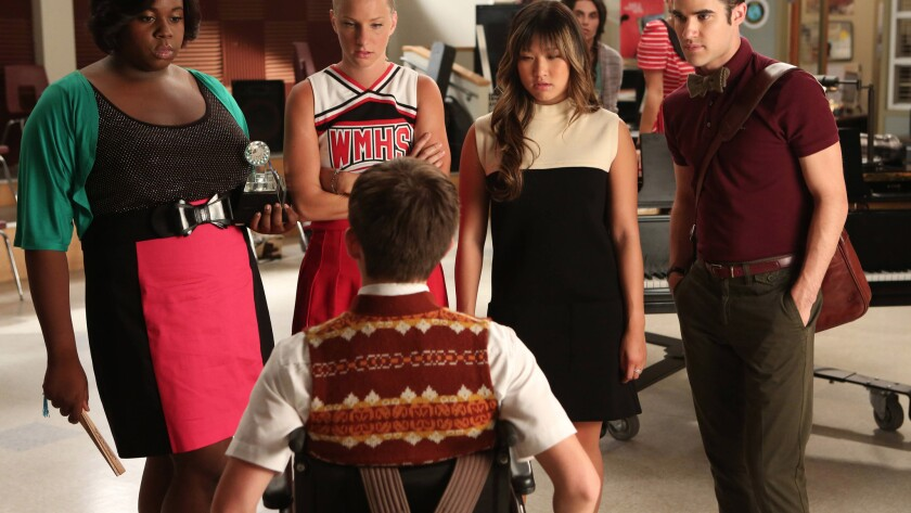 """Kevin McHale, bottom, a nondisabled actor, played the paraplegic character Artie on """"Glee."""""""