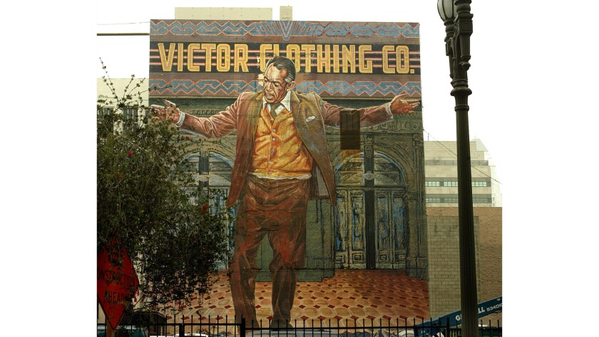 """Eloy Torrez's """"The Pope of Broadway,"""" at 242 S. Broadway, will get a face-lift overseen by the Mural Conservancy of Los Angeles."""