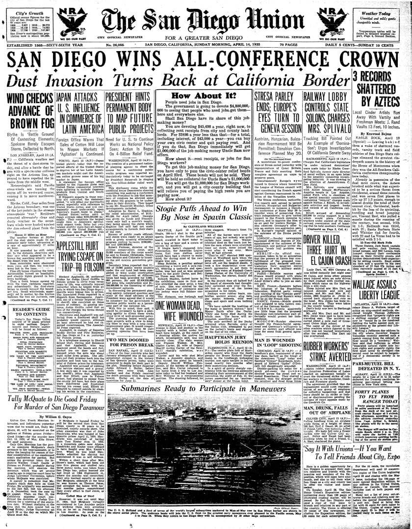 April 14, 1935 front page