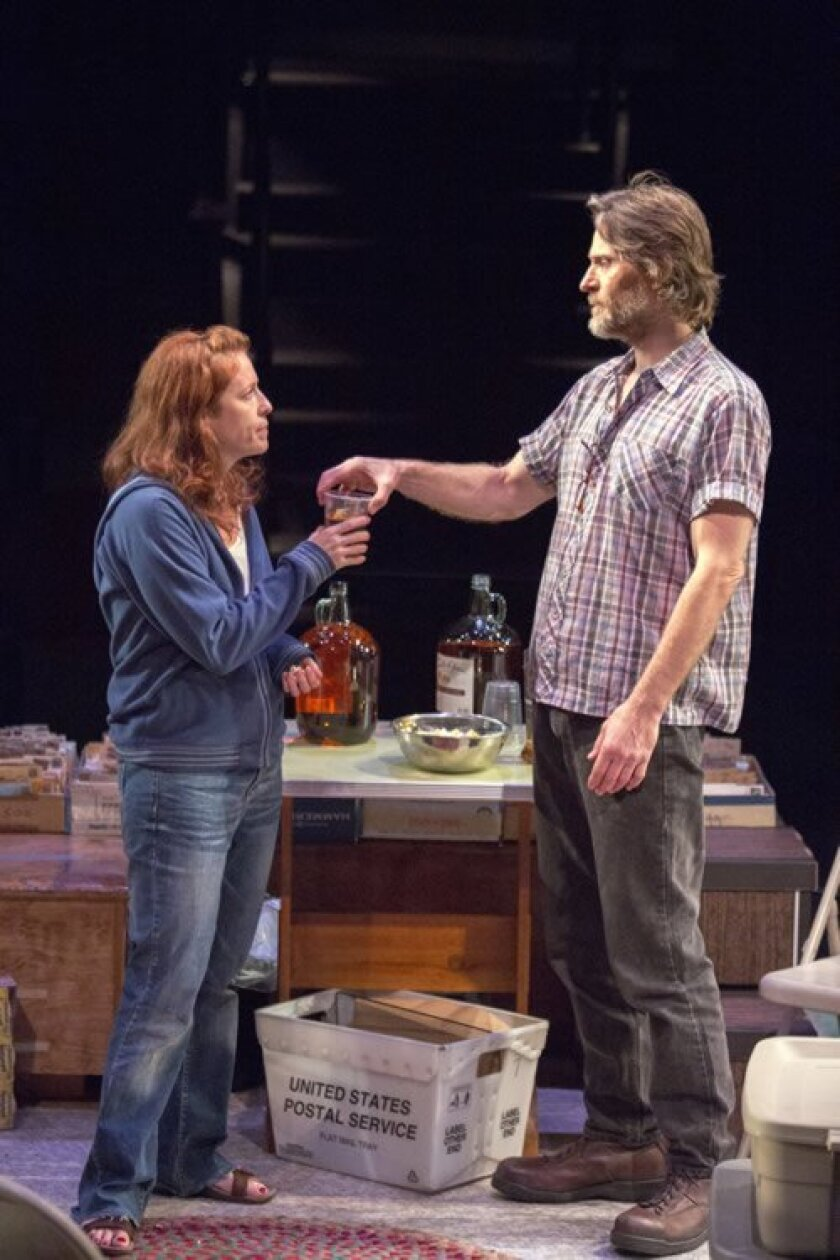 QZ (Eva Kaminsky) and Bryan (Michael Laurence) try to reconnect through their turmoil in the world premiere of Samuel D. Hunter's 'The Few' at The Old Globe.
