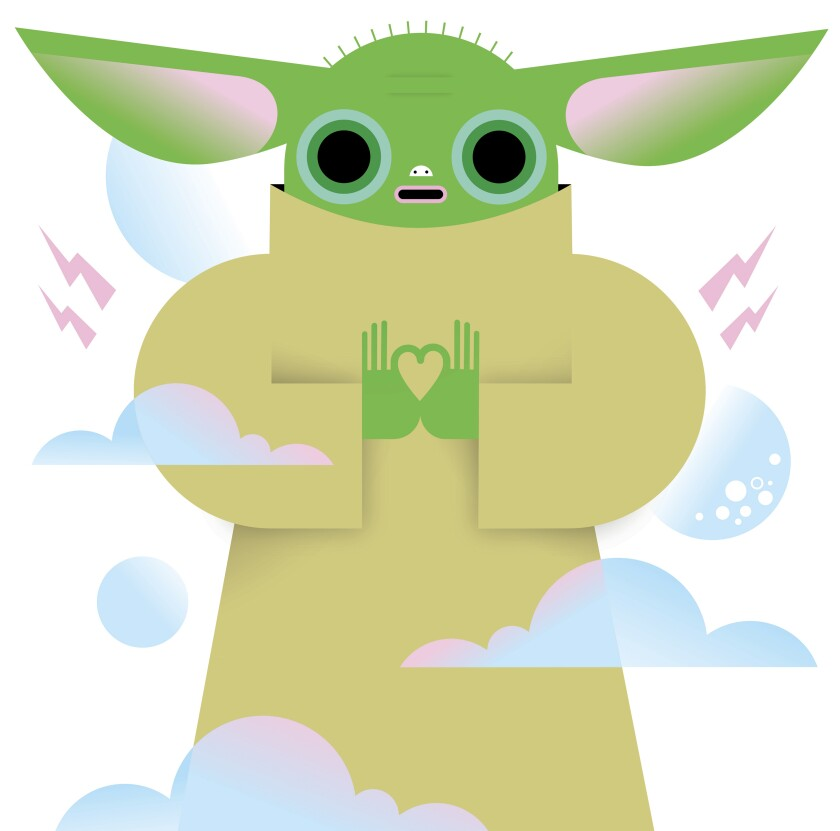 """An illustration of """"The Mandalorian's"""" Baby Yoda. Credit is Kirsten Ulve/For The Times"""