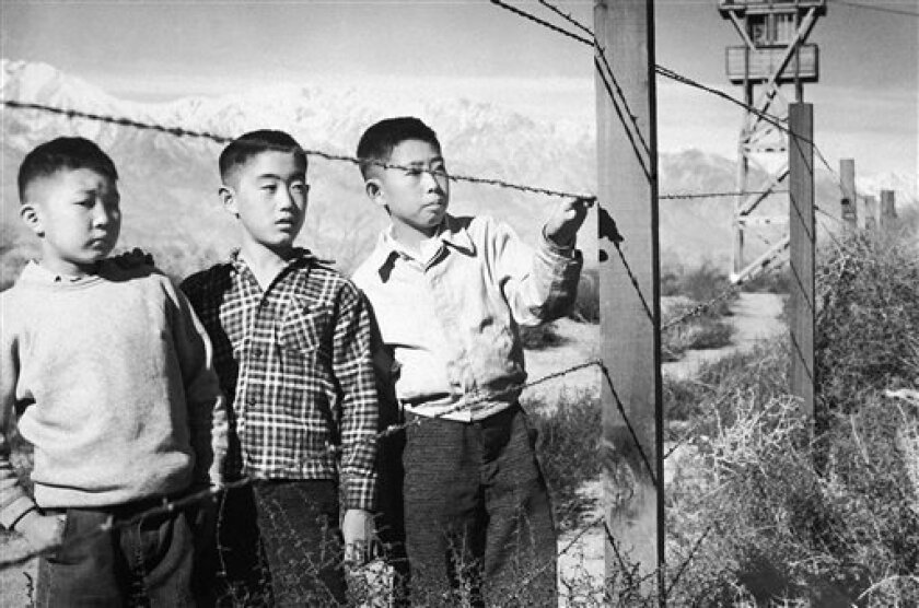 This is a historical photo of unidentified children at the Manzanar internment camp in Independence, Calif.