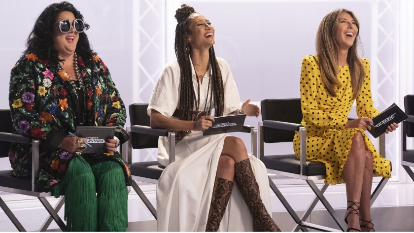 "Ashley Longshore, left, Elaine Welteroth and Nina Garcia in ""Project Runway"" on Bravo."