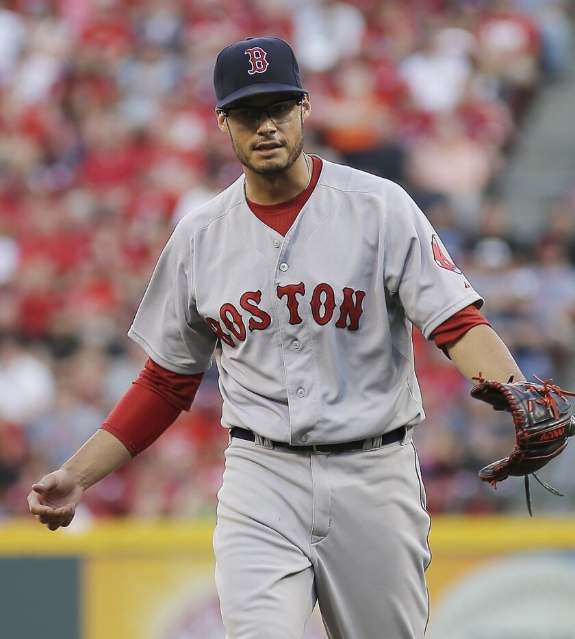 Boston Red Sox pitcher Joe Kelly reacts after striking out Cincinnati Reds Chris Heisey in the first inning of a baseball game, Tuesday, Aug. 12, 2014, in Cincinnati. (AP Photo/Tony Tribble)