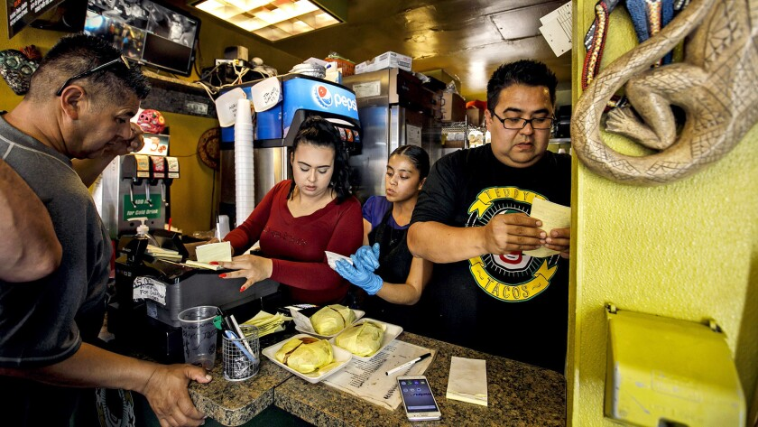CITY OF INDUSTRY, CALIF. -- FRIDAY, MAY 4, 2018: Behind the counter, Lesly Madrid, from left, Veroni