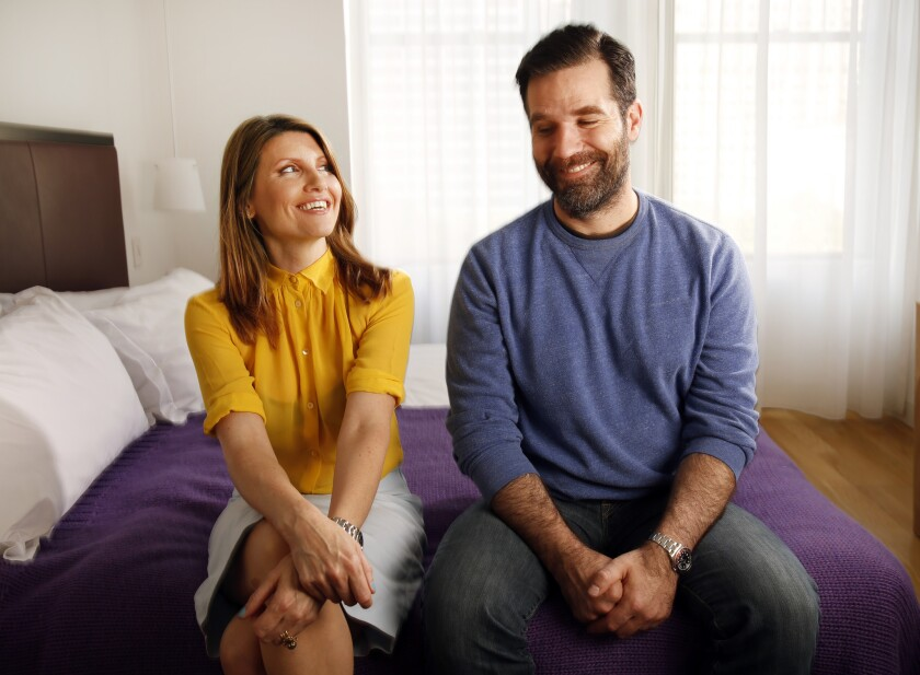 """Sharon Horgan, left, and Rob Delaney star and are writers of the new romantic comedy series """"Catastrophe."""""""