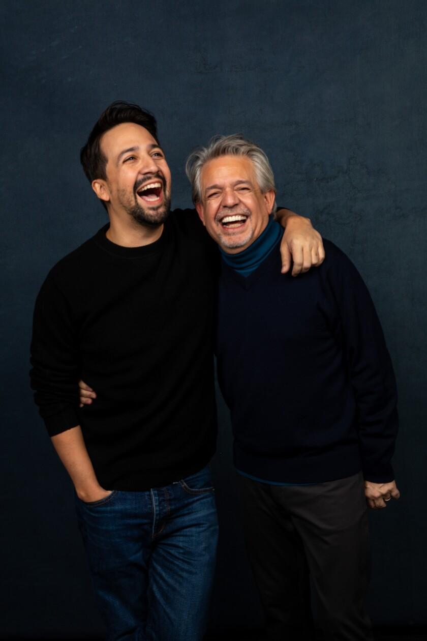 Lin-Manuel Miranda, left, and father Luis Miranda share a laugh.