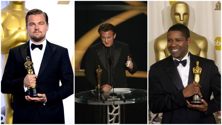 Leonardo DiCaprio, from left, Sean Penn and Denzel Washington are among the actors who took home Oscar gold while wearing a Giorgio Armani tuxedo.