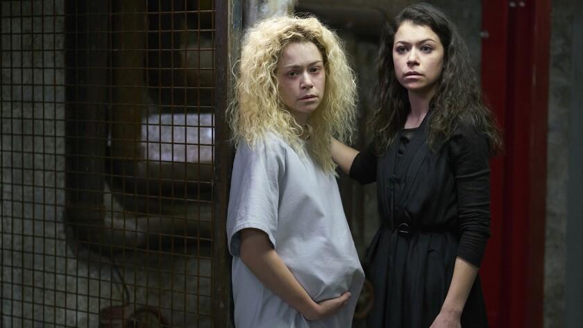 "Tatiana Maslany, left and right, in ""Orphan Black"" on BBC America."