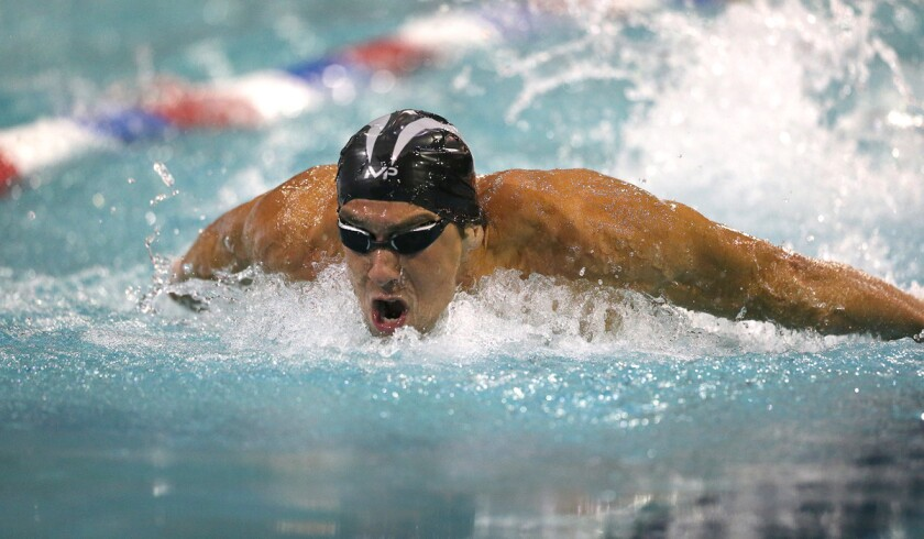 Michael Phelps competes in the Arena Pro Swim Series in Orlando, Fla., on Thursday.