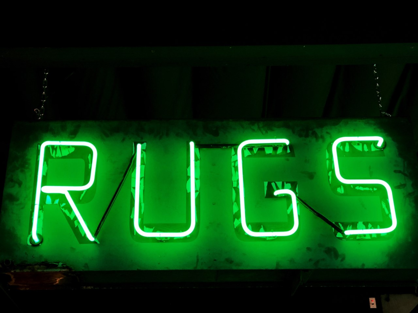 The Pasadena Rug Mart, specializing in Oriental rugs, was founded in 1932 by Armenian refugees to Pasadena. The simple neon sign likely dates from the establishing of the showroom in the 1930s.