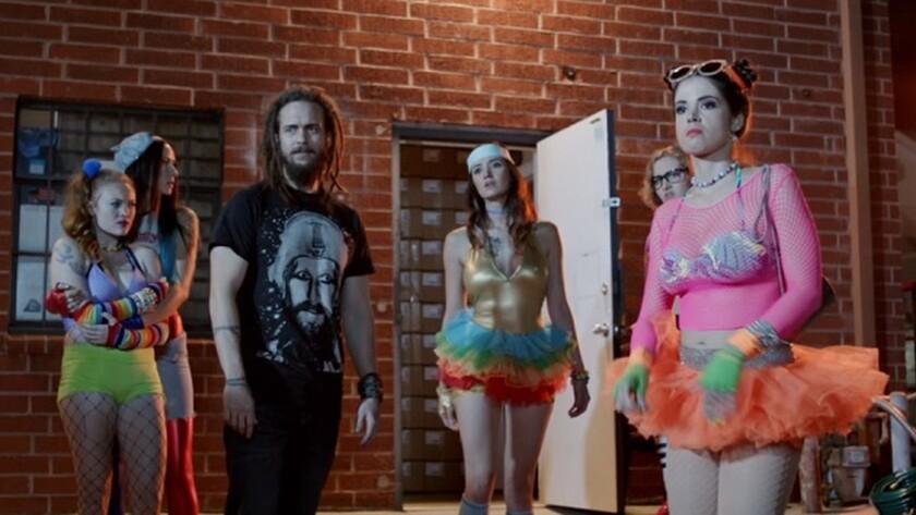 "Kelly McCart, left,Tristan Ott, Sara Malakul Lane and Lauren Parkinson in the movie ""Halloween Pussy Trap Kill! Kill!"""