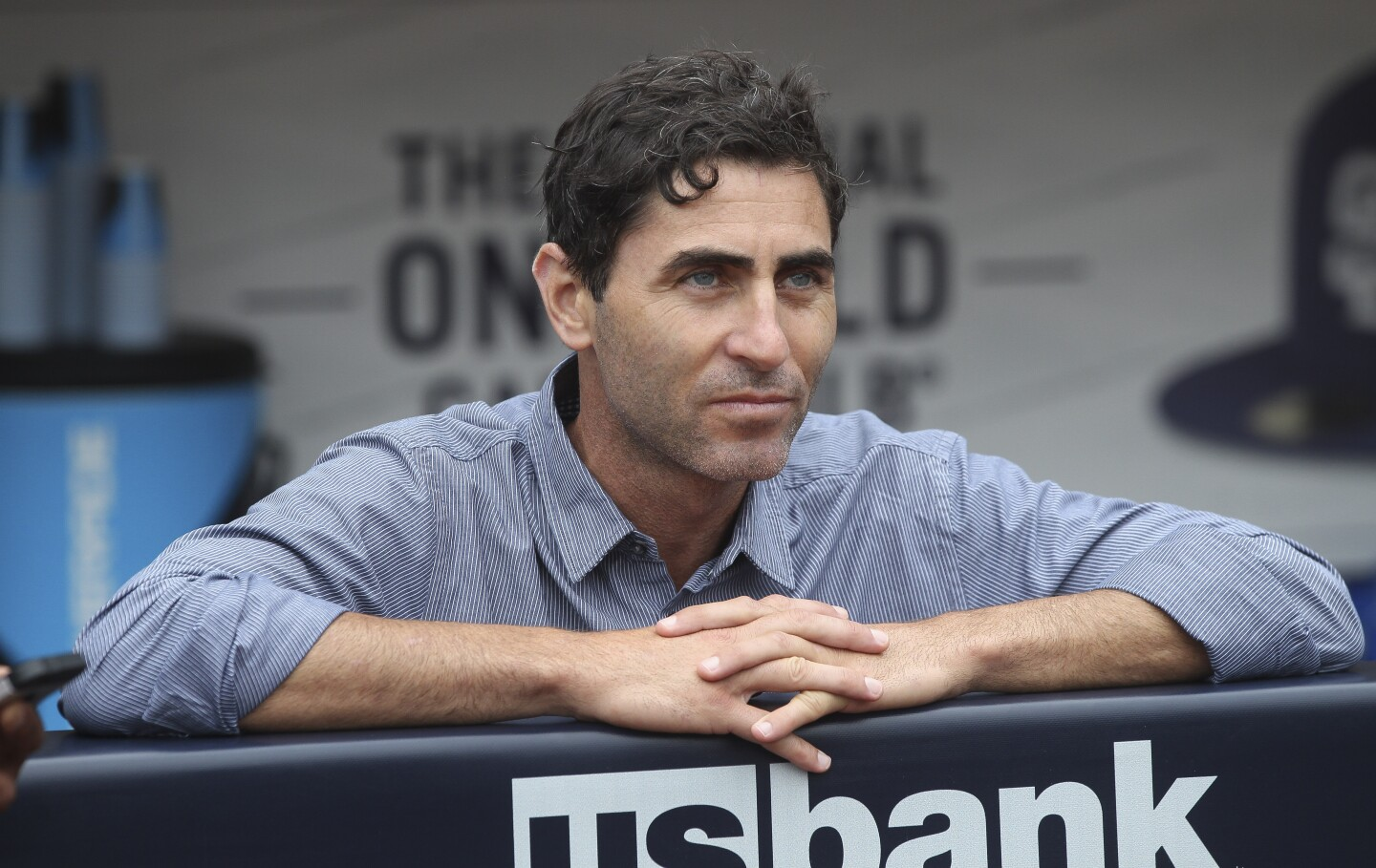 Padres General Manager A.J. Preller watches the Padres during batting practice before the Padres play the Nationals at Petco Park on Thursday, June 6, 2019 in San Diego, California.