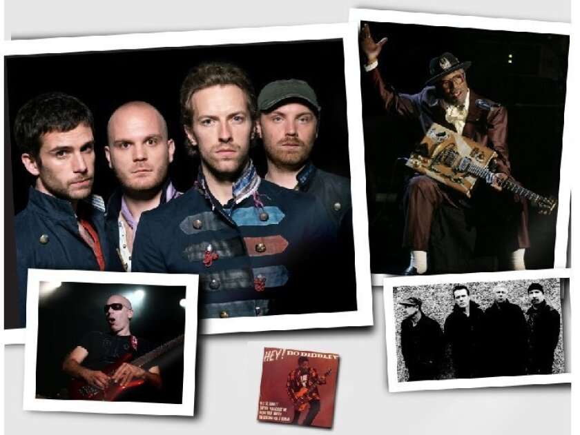 """Coldplay (top) has been sued by Joe Satriani (above), who alleges  Coldplay's """"Viva La Vida"""" plagiarizes his song """"If I Could Fly.""""     """"Hey! Bo Diddley"""" by Bo Diddley (inset) has inspired dozens of other songs,  including """"Desire"""" by U2 (above"""