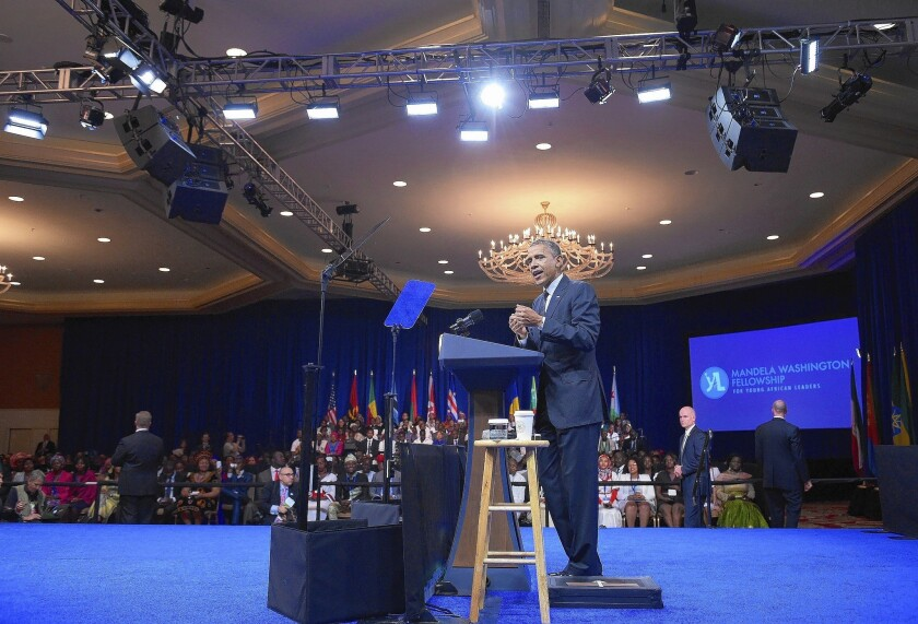 President Obama addresses the Summit of the Washington Fellowship for Young African Leaders at the White House on July 28. The president is preparing to host about 50 African leaders for a summit and gala in Washington.