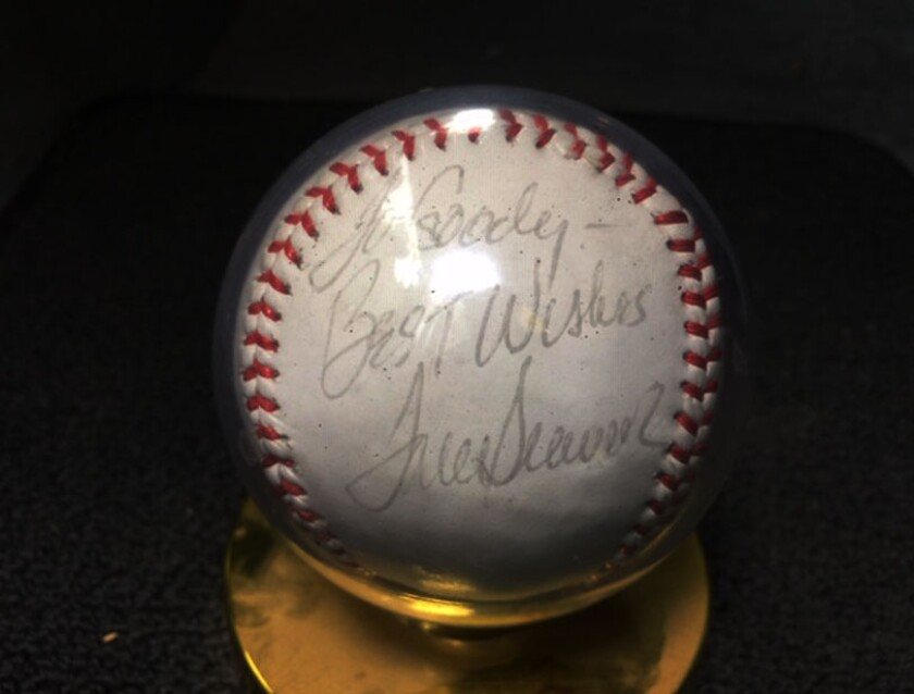 """An autographed baseball signed by Hall of Fame pitcher Tom Seaver, who addressed it to """"Goody,"""" the nickname of fan Jeff Goodhartz."""