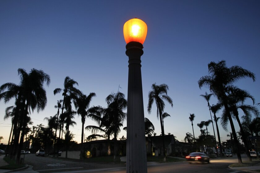 One of the antique street lights at the intersection of Kensington Drive and East Canterbury Drive in the Kensington neighborhood of San Diego on Wednesday.