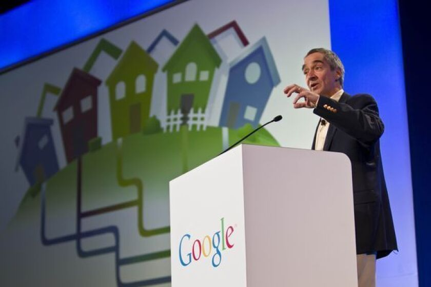 Google Chief Financial Officer Patrick Pichette announces on March 30, 2011, that Kansas City will be the first city where the company will offer its Google Fiber service.
