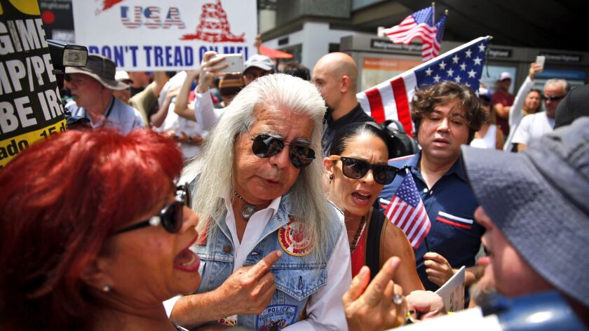 A Trump supporter, bottom right, faces off against protesters at a demonstration in Hollywood in July.