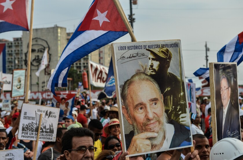 """Anti-communist sentiments among U.S. voters in South Florida help keep Cuba and its revolutionary leader Fidel Castro in Washington's political cross hairs. The State Department disclosed Wednesday, when Cubans were marching in May Day celebrations and paying tribute to the Castro regime, that Cuba will remain on its list of """"state sponsors of terrorism."""""""