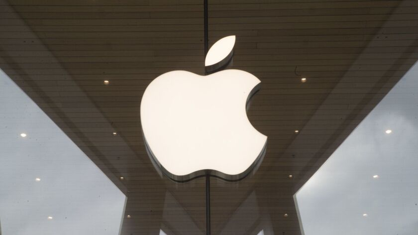 FILE - In this Jan. 3, 2019 file photo, the Apple logo is displayed at the Apple store in the Brookl