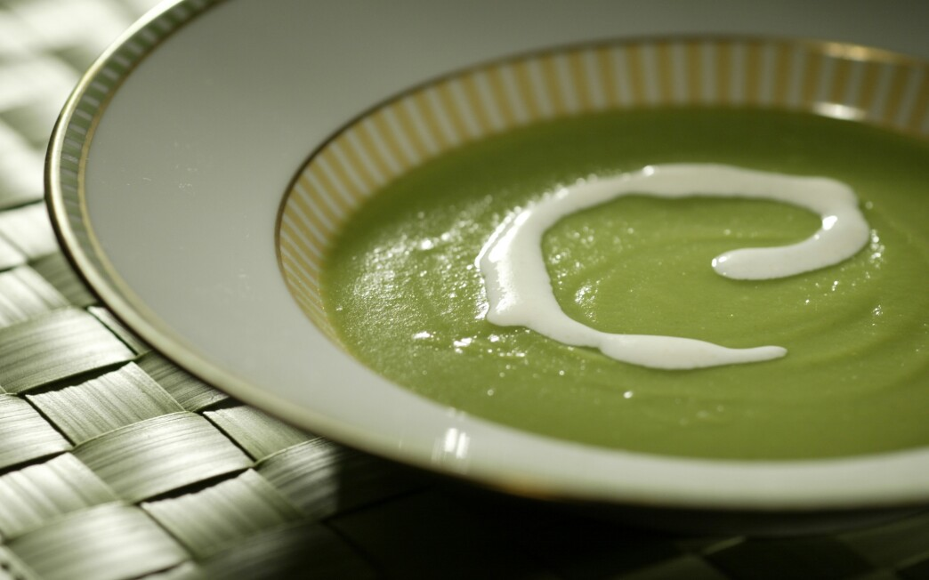 Sugar snap pea soup with Parmesan cream