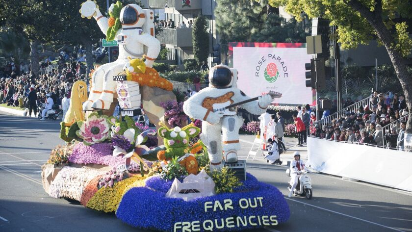 19Rose Parade float2-The Cal Poly Universities Rose Parade entry, Far Out Frequencies, makes its way