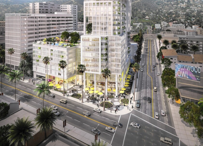 This illustration shows Horizon Hollywood, a $150-million apartment and retail complex proposed for the northwest corner of Hollywood Boulevard and La Brea Avenue in Hollywood.
